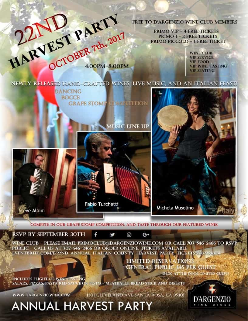 Annual Harvest Party Event at Santa Rosa Vintners Square hosted by D'Argenzio Winery